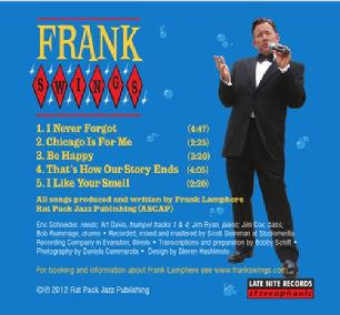"Rear cover of ""Frank Swings"" Frank Lamphere's EP released in 2012"