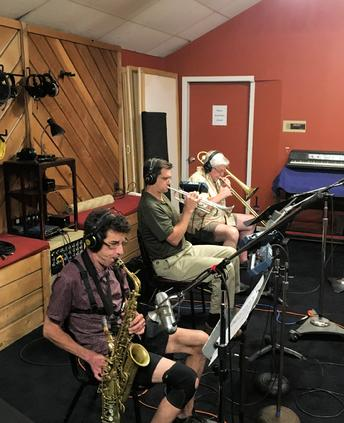 "Recording horns for Frank Lamphere's original song ""Las Vegas"" Eric Schneider, Mark Olen, Russ Phillips"