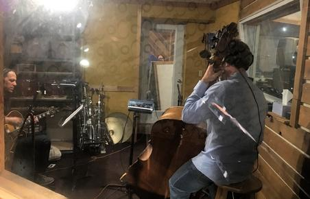 "Guitarist Andy Brown and bassist Dennis Carroll in the isolation booth recording tracks for Frank Lamphere's ""America the Beautiful Swinging"" CD"